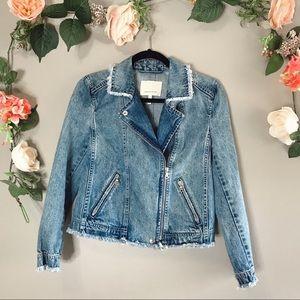 Rebecca Taylor denim zip front frayed jacket